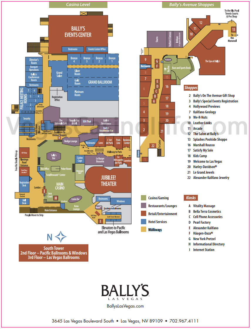 Ballys Property Map Vegas Casino Info