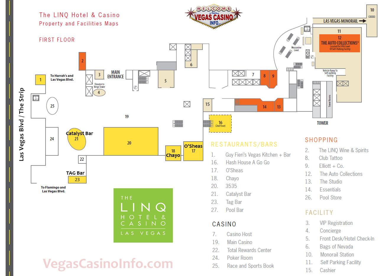 The Linq Las Vegas Map The Linq Property Map | Vegas Casino Info